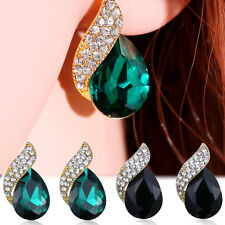 Fashion Crystal Earring Gold Tone Drop Earrings Cuff Stud Ear for Women Jewelry
