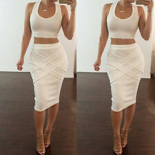 Womens Two Piece Sleeveless Bodycon Crop Top&Skirt Set Clubwear Party Dress
