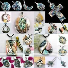 Cross Oval Mother Of Pearl MOP Abalone Shell Bead Charm Pendant Fit Necklace DIY