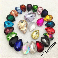 7*10mm Water Drop Rhinestones Point back Crystal Glass Chaton Strass 15ps