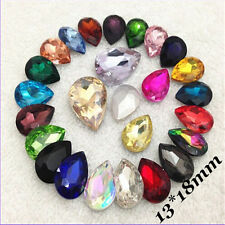 13*18mm Water Drop Rhinestones Point back Crystal Glass Chaton Strass 10ps