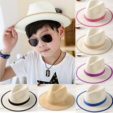 New Summer Kids Fedora Straw Brim Cap Sun Jazz Hat Hats Boys Girls Beach Hot Cap