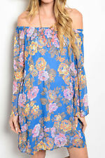 Floral Off Shoulder Dress MADE IN USA 100% Polyester Very Cute & Classy Dress