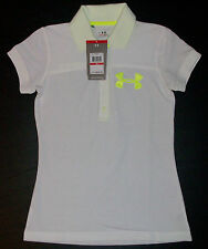 NWT $60 XS S M L White UNDER ARMOUR Heat Gear Semi-Fitted Polo UPF 30+!