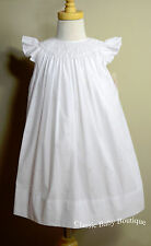 NWT Petit Ami White Smocked Bishop Fleur De Lis Dress 12 18 24 Angel wing Girls