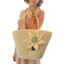 Women Sunflower Straw Weave Beach Big Tote Handbags Single-Shoulder Bags