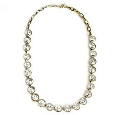 white clear crystal beaded statements necklace glass cluster vintage necklace
