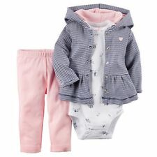 New Carter's 3 Piece Hoodie Cardigan Girl Bodysuit & Pant Set NWT 3m 6m 9m 12m