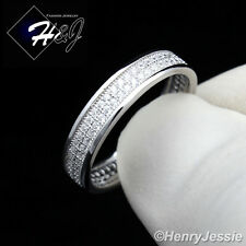MEN WOMEN 925 STERLING SILVER LAB DIAMOND ICED OUT BLING WEDDING BAND RING*SR25