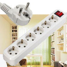 EU Plug Outlet Power Strip Extension Cable Wall Socket Mains Lead Strip Adapter