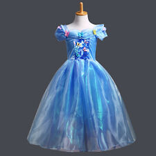 2015 Movie Cinderella Girl Dress Princess Gown Cosplay Costume Party Fancy Dress
