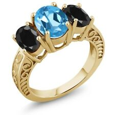 3.94 Ct Oval Swiss Blue Topaz Black Sapphire 18K Yellow Gold Plated Silver Ring