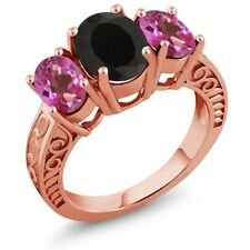 3.60 Ct Oval Black Onyx Pink Mystic Topaz 18K Rose Gold Plated Silver Ring