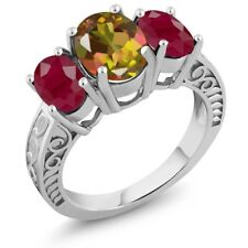 3.84 Ct Oval Mango Mystic Topaz Red Ruby 925 Sterling Silver Ring
