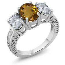 3.30 Ct Oval Whiskey Quartz White Topaz 925 Sterling Silver Ring