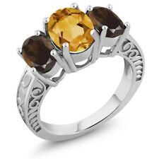 3.00 Ct Oval Yellow Citrine Brown Smoky Quartz 925 Sterling Silver Ring