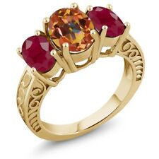3.84 Ct Oval Ecstasy Mystic Topaz Red Ruby 18K Yellow Gold Plated Silver Ring