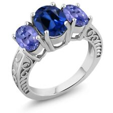 3.80 Ct Oval Blue Simulated Sapphire Blue Tanzanite 925 Sterling Silver Ring