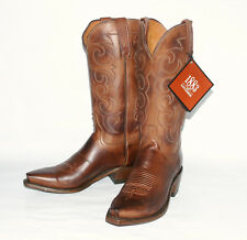 Jersey Calf Skin $320 Lucchese Men's Tan Burnish Western Boot NV1500 54 SnipToe