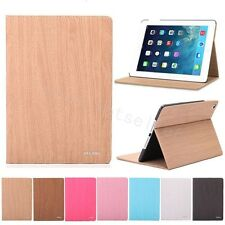Smart Wake Sleep Stand Hard Wood Grain Case Cover iPad mini iPad 2 3 4 5 6 Air 2