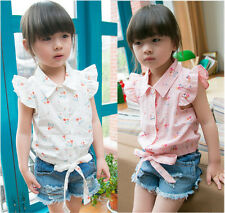 Pink/White Toddler Baby Girls Cotton Fly Sleeve Flower Tops Shirts Age 2-7Y