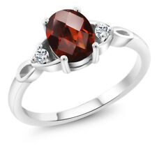 1.48 Ct Oval Checkerboard Red Garnet White Topaz 925 Sterling Silver Ring