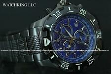 New Invicta Python Specialty Swiss Blue Chrono Dial Black Knurled SS Watch