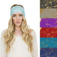 Stylish Womens Crochet Floral Hoop Wide Stretch Headband Lace Knit Hair Band