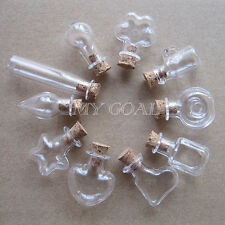 3/5/10X Empty Wishing Glass Bottle With Corks Necklace Pendant Hand-Blown Charm