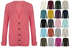Women Ladies Long Sleeve Chunky Aran Button Cable Knitted Grandad Cardigan Top