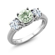 2.60 Ct Round Green Amethyst 925 Sterling Silver Ring