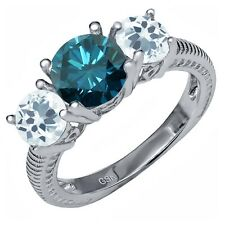 2.15 Ct Round Blue Diamond Sky Blue Aquamarine 925 Sterling Silver Ring