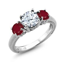 2.50 Ct Round White Topaz Red Ruby 925 Sterling Silver Ring