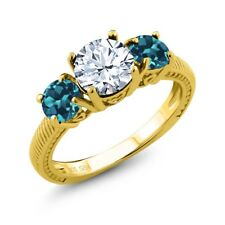 2.40 Ct Round White Topaz London Blue Topaz 18K Yellow Gold Plated Silver Ring