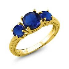 2.87 Ct Round Blue Simulated Sapphire 18K Yellow Gold Plated Silver Ring