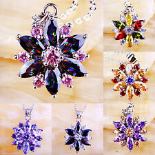 Gorgeous Luxury Multi-Color Gemstone Jewelry Silver Fashion Pendant Necklace