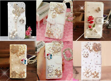 Elegant Butterfly Crown Flowers Bling Crystal PU Leather Case For HTC Phones