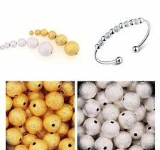 100pcs Fashion Silver&Golden Stardust Copper Ball Spacer Beads 3/4/5/6mm ,NEW