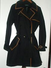 New Ralph Lauren Women's Belted Black Trench Jacket Coat Size L $325