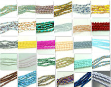 200pcs Rondelle Faceted Crystal Glass Loose Beads 4mm Diy Findings Multicolor