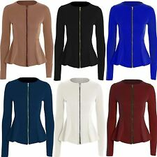 New Ladies Womens Peplum Zip Tailored Blazer Ruffle Frill Plain Coat Jacket Top