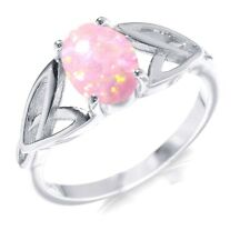 Pink Moon Fire Opal Infinity Celtic Oval Cut Birthstone Sterling Silver Ring