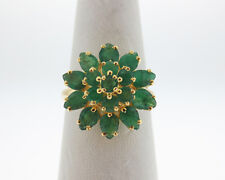 Natural 2.50cts Green Emeralds Solid 14k Yellow Gold Flower Ring FREE Sizing