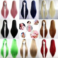 Fashion Womens Multicolor Long Straight Wig Anime Cosplay Party Wigs 80cm/32""