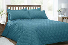 TEAL QUILTED BEDSPREAD & PILLOWSHAM SET DUVET QUILT THROW COVER NEW