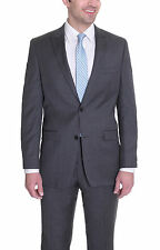 Alfani  Slim Fit Solid Dark Gray Two Button Wool Suit With Peak Lapels