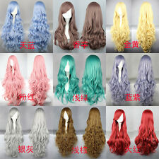 Fashion Womens Long Synthetic Hair Curly Wavy Wig Anime Cosplay Party Full Wigs