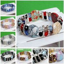 Womens Metal Crystal Howlite Turquoise Gemstone Beads Stretchy Bangle Bracelet