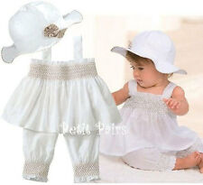 3pcs Baby Girl Toddler Ruffle Top+Pants+Hat Set Outfit Clothes Costume 0-2Y US
