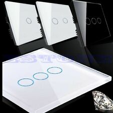 Hot Smart Touch Wall Control Light Switch Crystal Glass Panel 1/2/3 Gang 1 Way